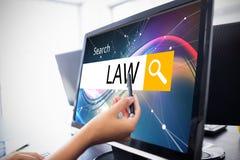 Σύνθετη εικόνα του λογότυπου ενός φραγμού αναζήτησης στον οποίο ο νόμος γράφεται Στοκ φωτογραφία με δικαίωμα ελεύθερης χρήσης
