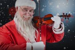Σύνθετη εικόνα του πορτρέτου του βιολιού παιχνιδιού Άγιου Βασίλη Στοκ Φωτογραφία