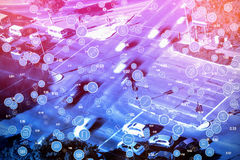 Σύνθετη εικόνα του πλήρους πλαισίου που πυροβολείται των κυκλικών μπλε εικονιδίων υπολογιστών Στοκ εικόνα με δικαίωμα ελεύθερης χρήσης