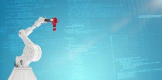 Σύνθετη εικόνα του ρομποτικού βραχίονα που κρατά το κόκκινο ερωτηματικό τρισδιάστατο Στοκ Εικόνες