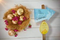 Σύνθετη εικόνα του σημαδιού κυνηγιού αυγών Πάσχας Στοκ Εικόνες