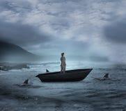 Σύνθετη εικόνα του σκεπτόμενου επιχειρηματία sailboat Στοκ Εικόνες