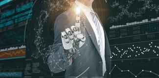 Σύνθετη εικόνα του σύνθετου του επιχειρηματία με το ρομποτικό χέρι τρισδιάστατο Στοκ φωτογραφία με δικαίωμα ελεύθερης χρήσης