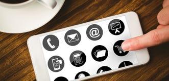 Σύνθετη εικόνα του τηλεφώνου με το εικονίδιο apps Στοκ φωτογραφία με δικαίωμα ελεύθερης χρήσης