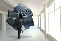 Σύνθετη εικόνα του τονισμένου επιχειρηματία με τα χέρια στο κεφάλι Στοκ Φωτογραφία