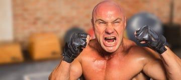 Σύνθετη εικόνα του υ μαχητή με τα γάντια Στοκ Εικόνα