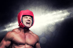 Σύνθετη εικόνα του υ μπόξερ με το κάλυμμα Στοκ Εικόνες