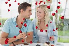 Σύνθετη εικόνα του χαριτωμένου ζεύγους βαλεντίνων Στοκ Φωτογραφίες