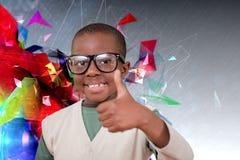 Σύνθετη εικόνα του χαριτωμένου μαθητή με τους αντίχειρες επάνω Στοκ Εικόνες