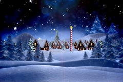 Σύνθετη εικόνα του χαριτωμένου χωριού Χριστουγέννων Στοκ φωτογραφία με δικαίωμα ελεύθερης χρήσης