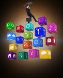 Σύνθετη εικόνα του χαρτοφύλακα εκμετάλλευσης επιχειρηματιών κάτω από την ομπρέλα Στοκ εικόνα με δικαίωμα ελεύθερης χρήσης