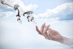 Σύνθετη εικόνα του χεριού του ατόμου που προσποιείται να κρατήσει ένα αόρατο αντικείμενο Στοκ Φωτογραφίες
