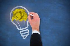 Σύνθετη εικόνα του χεριού του γραψίματος επιχειρηματιών με μια άσπρη κιμωλία Στοκ φωτογραφία με δικαίωμα ελεύθερης χρήσης