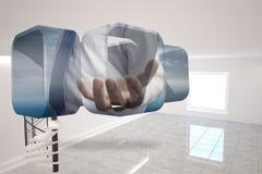 Σύνθετη εικόνα του χεριού businessmans στην αφηρημένη οθόνη Στοκ Εικόνες
