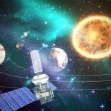 Σύνθετη εικόνα του ψηφιακά παραγμένου δορυφόρου ηλιακής ενέργειαςεικόνας ofτρισδιάστατου σύγχρονου διανυσματική απεικόνιση