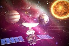Σύνθετη εικόνα του ψηφιακά παραγμένου δορυφόρου ηλιακής ενέργειαςεικόνας ofτρισδιάστατου ελεύθερη απεικόνιση δικαιώματος