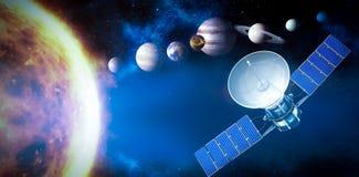 Σύνθετη εικόνα του ψηφιακά παραγμένου τρισδιάστατου ηλιακούδορυφόρου εικόνας ofαπεικόνιση αποθεμάτων