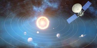 Σύνθετη εικόνα του ψηφιακά παραγμένου τρισδιάστατου ηλιακούδορυφόρου εικόνας ofδιανυσματική απεικόνιση