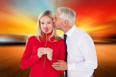 Σύνθετη εικόνα του όμορφου ατόμου που δίνει στη σύζυγό του ένα φιλί στο μάγουλο Στοκ Εικόνες
