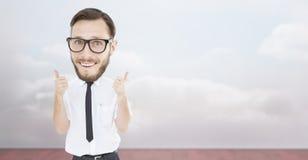 Σύνθετη εικόνα του geeky επιχειρηματία με τους αντίχειρες επάνω Στοκ Εικόνα