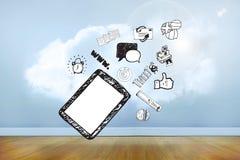 Σύνθετη εικόνα του PC και app ταμπλετών doodles Στοκ Εικόνες