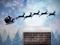 Σύνθετη εικόνα του santa που πετά το έλκηθρό του Στοκ Εικόνες