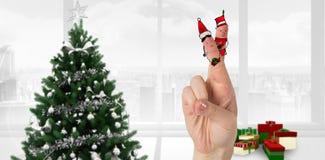 Σύνθετη εικόνα των δάχτυλων Χριστουγέννων Στοκ Φωτογραφία