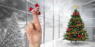 Σύνθετη εικόνα των δάχτυλων Χριστουγέννων Στοκ Εικόνες