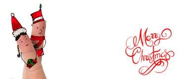 Σύνθετη εικόνα των δάχτυλων Χριστουγέννων Στοκ εικόνα με δικαίωμα ελεύθερης χρήσης