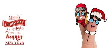 Σύνθετη εικόνα των δάχτυλων Χριστουγέννων Στοκ φωτογραφία με δικαίωμα ελεύθερης χρήσης