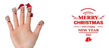 Σύνθετη εικόνα των δάχτυλων Χριστουγέννων caroler Στοκ Φωτογραφία
