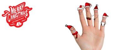 Σύνθετη εικόνα των δάχτυλων Χριστουγέννων caroler Στοκ εικόνες με δικαίωμα ελεύθερης χρήσης