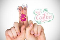 Σύνθετη εικόνα των δάχτυλων ως λαγουδάκι Πάσχας Στοκ Εικόνες