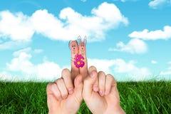 Σύνθετη εικόνα των δάχτυλων ως λαγουδάκι Πάσχας Στοκ φωτογραφίες με δικαίωμα ελεύθερης χρήσης