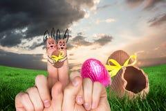 Σύνθετη εικόνα των δάχτυλων ως λαγουδάκι Πάσχας Στοκ Εικόνα