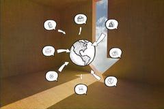 Σύνθετη εικόνα των εικονιδίων γης και app doodle Στοκ εικόνα με δικαίωμα ελεύθερης χρήσης