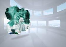 Σύνθετη εικόνα των επιστημόνων στην αφηρημένη οθόνη Στοκ φωτογραφία με δικαίωμα ελεύθερης χρήσης