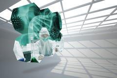 Σύνθετη εικόνα των επιστημόνων στην αφηρημένη οθόνη Στοκ εικόνες με δικαίωμα ελεύθερης χρήσης