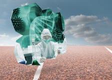 Σύνθετη εικόνα των επιστημόνων στην αφηρημένη οθόνη Στοκ φωτογραφίες με δικαίωμα ελεύθερης χρήσης