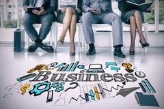 Σύνθετη εικόνα των επιχειρηματιών που περιμένουν να κληθεί στη συνέντευξη Στοκ Φωτογραφία