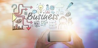 Σύνθετη εικόνα των καλλιεργημένων χεριών της επιχειρηματία που κρατά το κινητό τηλέφωνο Στοκ Εικόνες