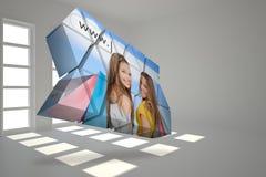 Σύνθετη εικόνα των κοριτσιών που ψωνίζουν στην αφηρημένη οθόνη Στοκ εικόνες με δικαίωμα ελεύθερης χρήσης