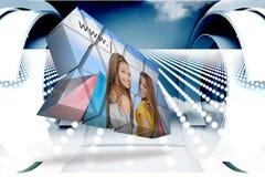 Σύνθετη εικόνα των κοριτσιών που ψωνίζουν στην αφηρημένη οθόνη Στοκ φωτογραφία με δικαίωμα ελεύθερης χρήσης