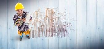 Σύνθετη εικόνα των ματαιωμένων handyman διάφορων εργαλείων εκμετάλλευσης Στοκ φωτογραφία με δικαίωμα ελεύθερης χρήσης