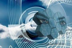 Σύνθετη εικόνα των ματιών στην αφηρημένη οθόνη Στοκ εικόνες με δικαίωμα ελεύθερης χρήσης