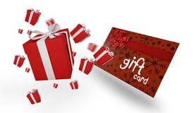 Σύνθετη εικόνα των πετώντας χριστουγεννιάτικων δώρων Στοκ Φωτογραφία