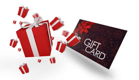 Σύνθετη εικόνα των πετώντας χριστουγεννιάτικων δώρων Στοκ φωτογραφία με δικαίωμα ελεύθερης χρήσης