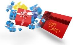 Σύνθετη εικόνα των πετώντας χριστουγεννιάτικων δώρων Στοκ Εικόνες