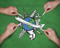 Σύνθετη εικόνα των πολλαπλάσιων χεριών που σύρουν το αεροπλάνο με την κιμωλία Στοκ Εικόνες