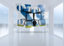 Σύνθετη εικόνα των σημαδιών επιχειρηματιών και δολαρίων στην αφηρημένη οθόνη Στοκ Εικόνες